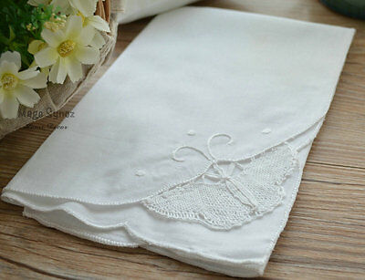 "Set of 6 White Cotton Bobbin Lace Butterfly 18"" Dinner Cloths Table Napkins Lot"