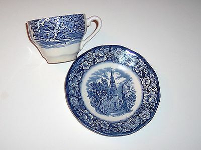 Vintage Enoch Wedgewood, Staffordshire Liberty Blue China, Cup & Saucer, Paul Re