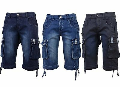 Mens Denim Jeans Shorts Crosshatch Combat Casual Cargo Shorts with Pockets