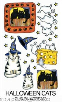 Rub On Transfers HALLOWEEN CATS Ghost Witch Acid Free Card Making GRE353