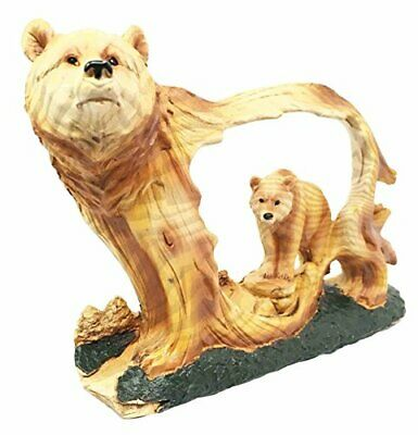 Nature Faux Wood Wildlife Grizzly Bear With Cub Roaming The Forests Decor Statue