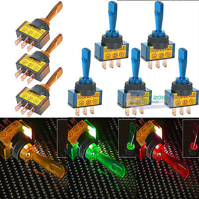 5Pcs 12V 20A Car Auto 4 Colors LED Light Toggle Rocker Switch 3P SPST ON/OFF
