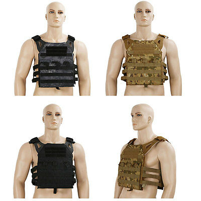 Mil-Tec Airsoft Tactical Padded Military Vest Molle Plate Carrier Police Black