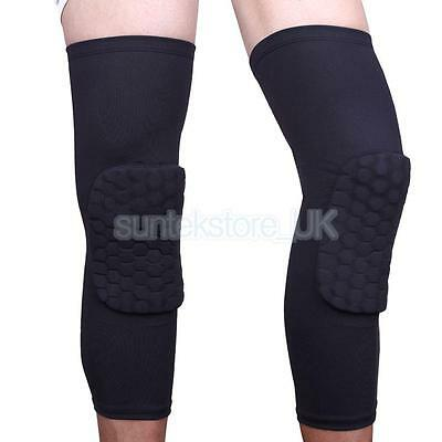 Sport Basketball Honeycomb Pad Leg Knee Long Sleeve Calf Support Protector S M L