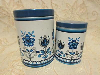 Set Of 2 White & Blue '' Flowers '' Containers / Tins