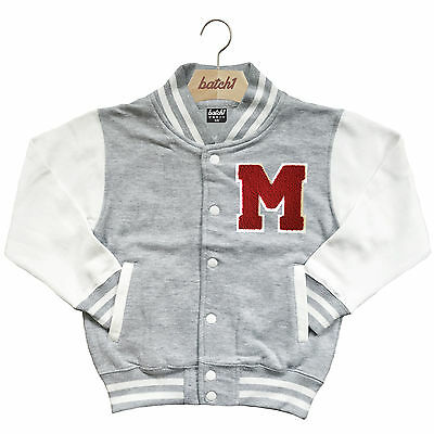 Kids Varsity Baseball Jacket Personalised With Genuine Us College Letter M
