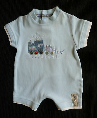 Baby clothes BOY newborn 0-1m Jasper Conran blue steam train romper