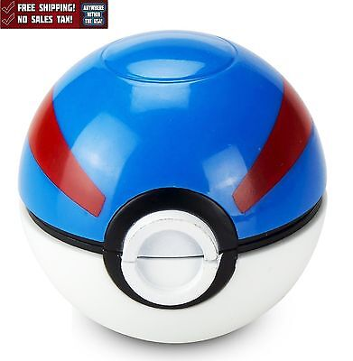 Tobacco Grinder Pokemon Herb Spice Crusher Pokeball 2.2 Inch 3 Piece Blue New