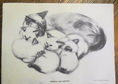 LILLIPUS & KITTENS '56 Clare Turlay Newberry Print Cat Drawing Frame Ready