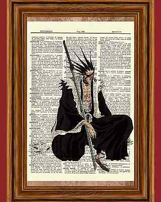 Bleach Dictionary Art Print Poster Picture Kenpachi Zaraki Soul Society Captain
