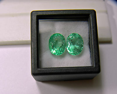 4.00Ct Genuine Matching Pair Oval Natural Colombian Emerald Loose Stones
