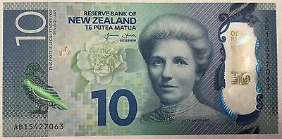 NEW ZEALAND 10 DOLLARS POLYMER BANKNOTE NZD 2015 UNC ,paper money bill