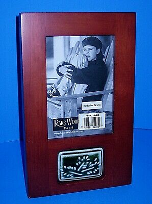 """Burnes Of Boston Rare Woods Picture Frame With Ceramic For 3.5""""x 5"""" Photo"""