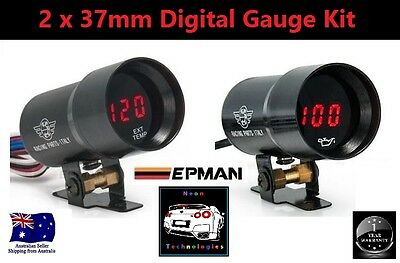 2 x 37mm Digital Gauge Kit *RED LED* Boost Turbo Skyline WRX EVO MPS Diesel 4WD