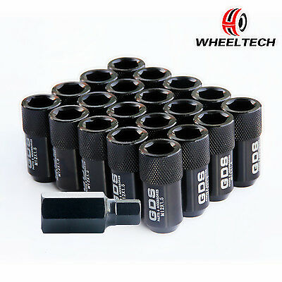 20pcs Black Extended Wheel Lug Nuts M12X1.5 42mm for Ford Focus Chevy Cruze