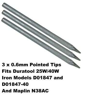 3 x 0.6mm Pointed Soldering Iron Tip 79-2110 for 25W 40W Duratool Maplin N38AC