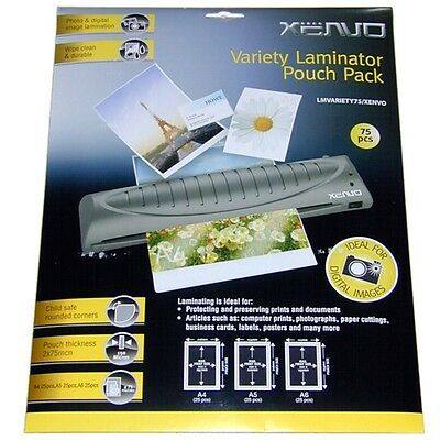 75 X GLOSS 150 MICRON LAMINATOR POUCHES 25 x A4 A5 & A6 FOR LAMINATING MACHINE