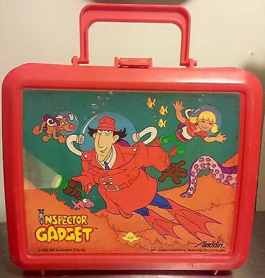 Vintage 1983 INSPECTOR GADGET Plastic ALADDIN LUNCH BOX Very Collectible GUC