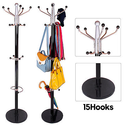 15 Hook Clothes Hat Coat Umbrella Stand Rack Garment Hanger Metal Marble Base