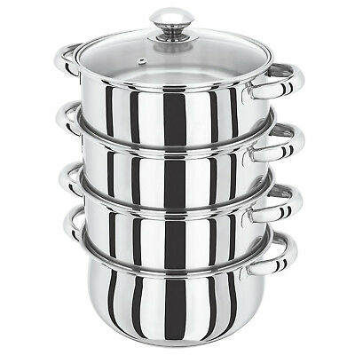 S/s Steel 22Cm 4 Tier Induction Hob Steamer Cookware Pot Pan Set With Glass Lid