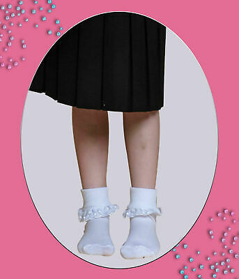 3 Pairs Girls White Frilly Embroidered Lace Top Cotton School Ankle Socks