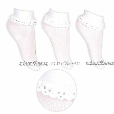 Chic Ankle Socks For Babies and Girls 3 Pairs Various Sizes Spring Wedding