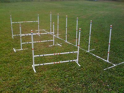 Dog Agility Training Combo 3 Jumps and 6 Adjustable Weave Poles