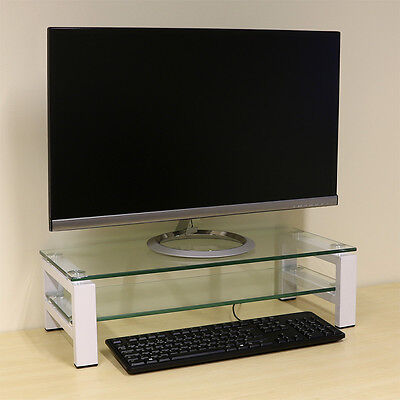 2 Tier Monitor Display Riser Stand For Computer/PC/iMac/TV – White / Clear Shelf