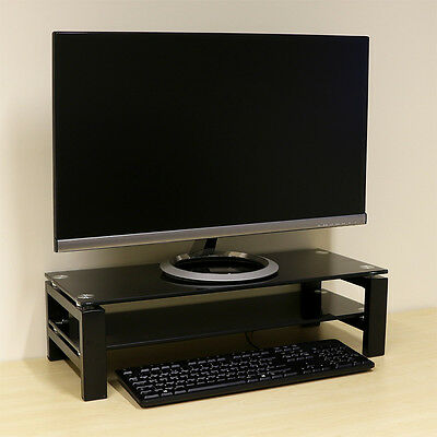 2 Tier Monitor Display Riser Stand For Computer/PC/iMac/TV – Black Shelf