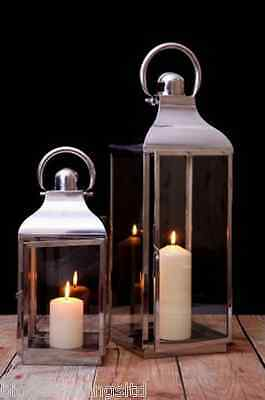 Twin Set Of Candle Lanterns Stainless Steel Glass Ornaments Decoration