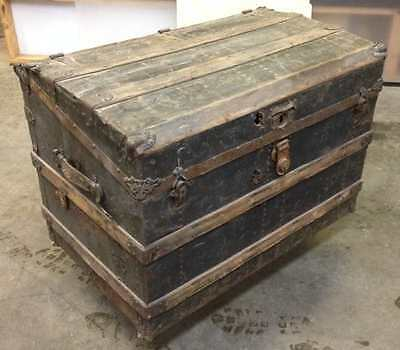 Vintage Trunk  - Metal & wood with domed top