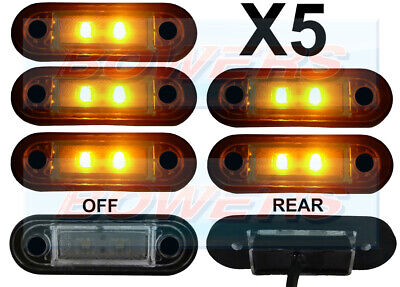 5 x 12V/24V FLUSH FIT AMBER LED SIDE MARKER LAMPS / LIGHTS TRUCK VAN KELSA BAR