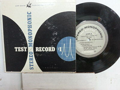 """ZIFF DAVIS STEREO  MONOPHONIC 7"""" 33 RPM TEST RECORD #1 w/ orig pic sleeve."""