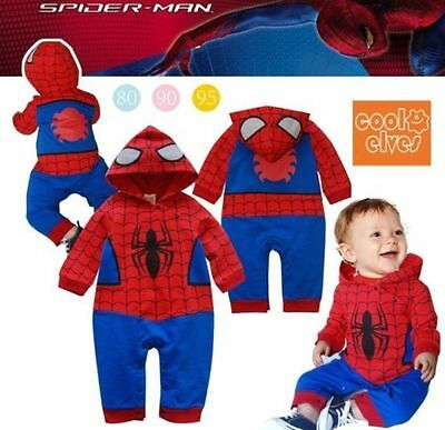 NEW Baby Boys Spiderman Costume Superhero romper outfit hoodie Fancy Dress Party