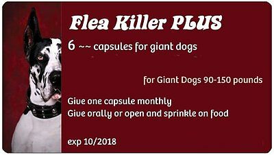 Flea Killer PLUS Dogs 90-130 lbs. 6 capsules, 6 month supply for 1 dog (red)