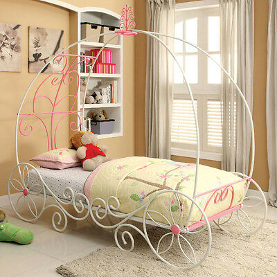 Enchant Princess 3D Carriage Princess Sturdy Metal Twin or Full Pink White Bed