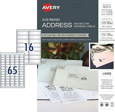 Avery L7278 L7279 Printable Clear Labels 128 Address/130 Return - 982513