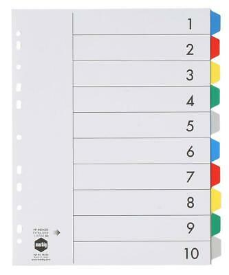 Marbig A4 10 Tabs Dividers PVC Extra Wide - Coloured Tabs 36200