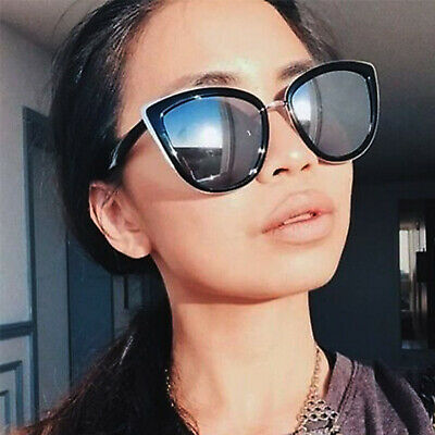 """My Girl"" Cat Eye Women Fashion Sunglasses Gold Metal Rim Mirrored Lens"