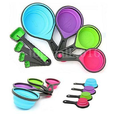 4/8pcs Silicone Measuring Cups Spoon Collapsible Kitchen Cooking Baking Tool Set