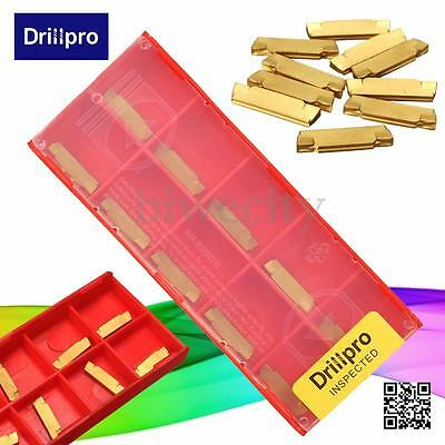 Drillpro 10Pcs MGMN200-G 2mm Width Carbide Inserts For MGEHR MGIVR Grooving Tool