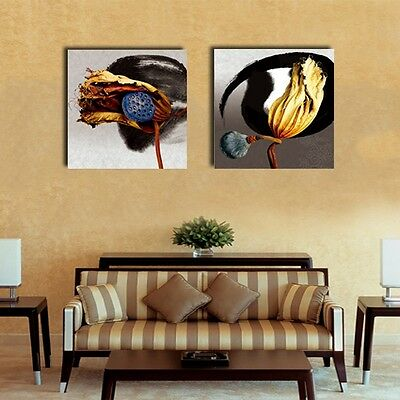 Set Of 2 Lotus Flower Stretched Canvas Prints Framed Giclee Wall Art Home Decor