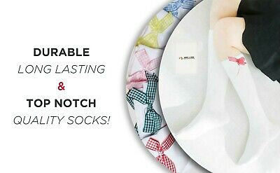 Chic Socks With Checked Silky Bow For Girls Ankle Or Knee High Formal Wear