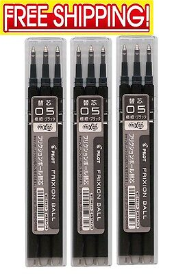 3/9/15/30/60 PILOT FRIXION  REFILLS  0.5mm  0.38mm Erasable Ballpoint Pens Japan