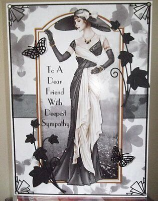 Handmade Art Deco Personalised With Sympathy Friend Card A Elegant Lady In Black