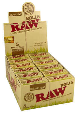1 Box (24x) RAW ORGANIC Rolls Slim 5m lang ungebleichte Hanf Papers unbleached