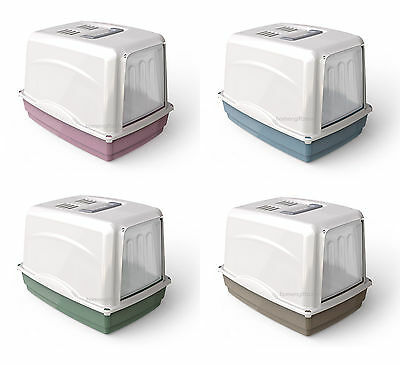 Pet Cat Litter Tray Carry Handle Large Portable Litter Box Hooded Gated Filter
