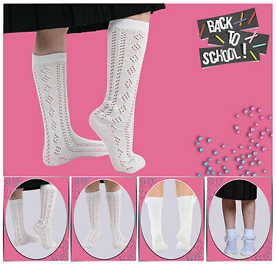 3 Pairs Girls White Frilly Embroidered Lace Top Cotton Ankle Socks Various Sizes