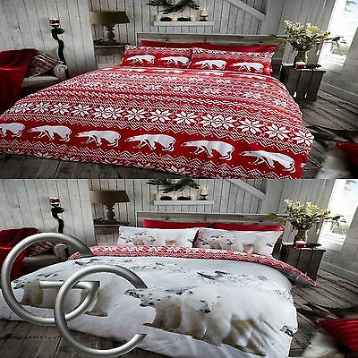 "Flannel ""Polar Bear"" 100% Brushed Cotton Cream Red Reversible Duvet Quilt Cover"