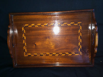Gorgeous Hand Made Mahogany Satin Wood Marquetry Inlaid Tray Treen Display 13X9""